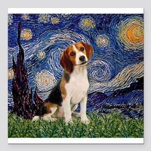 "MP-Starry-Beagle1-nc Square Car Magnet 3"" x 3"""