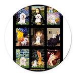 Bichon Masterpieces (A) Round Car Magnet