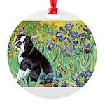5.5x7.5-Irises-Boston4 Round Ornament