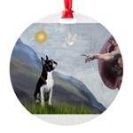 Boston Terrier 3 - Creation of Man Round Ornament
