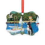 Boston Terrier Sailboats Picture Ornament