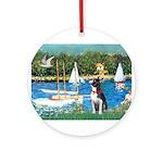 Boston Terrier Sailboats Ornament (Round)