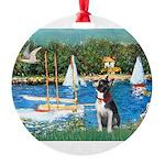 Boston Terrier Sailboats Round Ornament