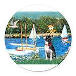 Boston Terrier Sailboats Round Car Magnet