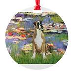 TILE-Lilies2-Boxer2-Nat Round Ornament