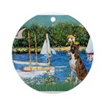 3-Sailboats-Boxer5-Brindle Ornament (Round)