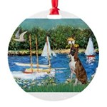 3-Sailboats-Boxer5-Brindle Round Ornament