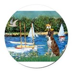3-Sailboats-Boxer5-Brindle Round Car Magnet