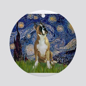5.5x7.5-StarryNight-Boxer1up Ornament (Round)