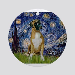 5.5x7.5-StarryNight-Boxer4-nat Ornament (Round