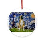5.5x7.5-StarryNight-Boxer4-nat Ornament (Round