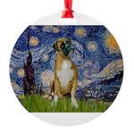 5.5x7.5-StarryNight-Boxer4-nat Round Ornament