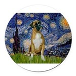 5.5x7.5-StarryNight-Boxer4-nat Round Car Magne