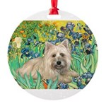 MP-IRISES-Cairn4-liedown Round Ornament