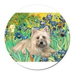 MP-IRISES-Cairn4-liedown Round Car Magnet