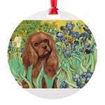 3-MP-IRISES-Cav-Ruby7 Round Ornament