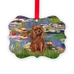 3-MP-LILIES2-Cav-Ruby7 Picture Ornament