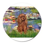 3-MP-LILIES2-Cav-Ruby7 Round Car Magnet