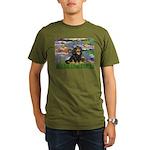 PILLOW-Lilies2-Blk-Tan Organic Men's T-Shirt (
