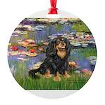 PILLOW-Lilies2-Blk-Tan Round Ornament