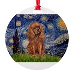 MP-STARRY-Cav-Ruby7 Round Ornament