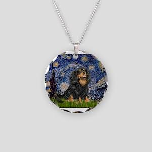 PILLOW-StarryCav-Blk-Tan Necklace Circle Charm