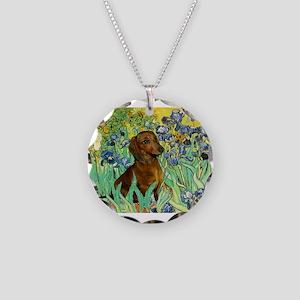 5.5x7.5-Irises-Dachs-Brwn1 Necklace Circle Cha