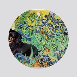 8x10-Irises-Dachs-Blk4 Ornament (Round)