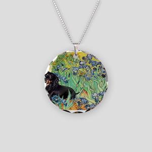 8x10-Irises-Dachs-Blk4 Necklace Circle Charm