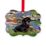 5.5x7.5-Lilies2-Dachs-Blk4 Picture Ornament