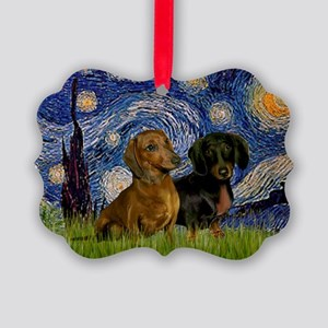 5.5x7.5-StarryNight-DachsPR-1 Picture Ornament