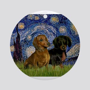5.5x7.5-StarryNight-DachsPR-1 Ornament (Round)
