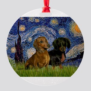 5.5x7.5-StarryNight-DachsPR-1 Round Ornament