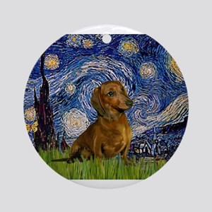 MP-Starry-Dachs-Brwn1 Ornament (Round)