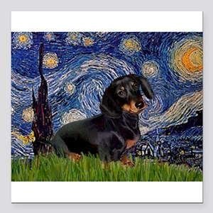 "5.5x7.5Starry-Dachs16 Square Car Magnet 3"" x 3"