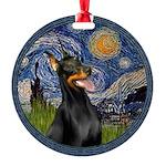 8x10-Starry-Dobie1 Round Ornament
