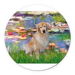 MP-Lilies-GoldBoomr Round Car Magnet