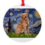 5.5x7.5-Starry-GoldBanj2 Round Ornament