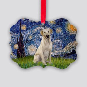 StarryNight-YellowLab7 Picture Ornament