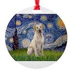 StarryNight-YellowLab7 Round Ornament