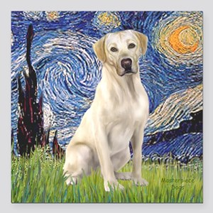 "StarryNight-YellowLab7 Square Car Magnet 3"" x"