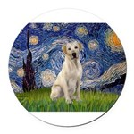 StarryNight-YellowLab7 Round Car Magnet