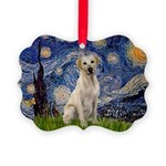 Starry Night Yellow Lab Picture Ornament