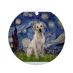 Starry Night Yellow Lab Ornament (Round)