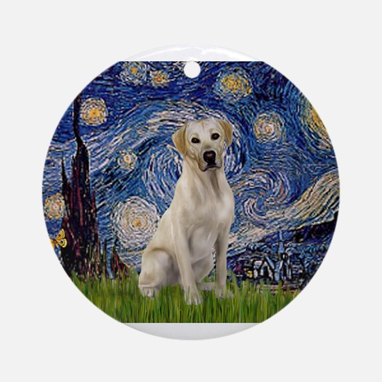 Starry Night Yellow Lab Ornament (Round)