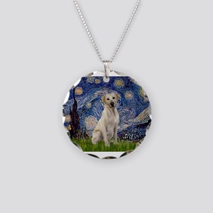 Starry Night Yellow Lab Necklace Circle Charm