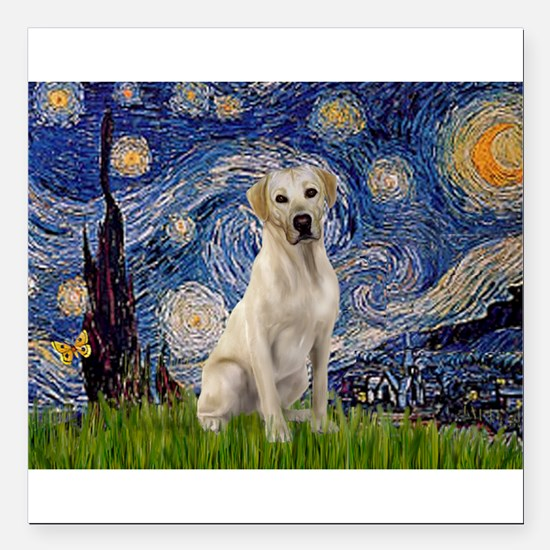 "Starry Night Yellow Lab Square Car Magnet 3"" x 3"""