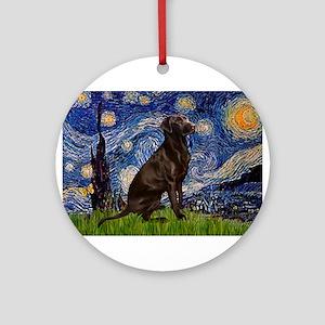 Starry Chocolate Lab Ornament (Round)