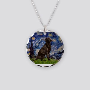 Starry Chocolate Lab Necklace Circle Charm