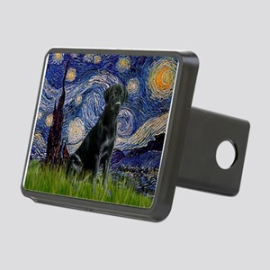 Starry-Black Labrador Rectangular Hitch Cover
